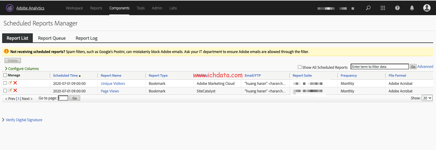 Adobe Analytics中的定期报告Scheduled Reports