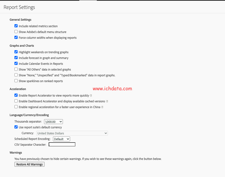 Adobe Analytics中的报告设置Report Settings